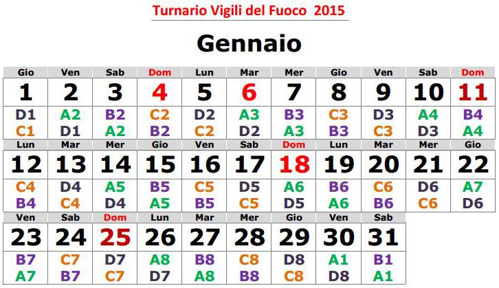 Turnario 2015 realizzato da Vigilfuoco.net