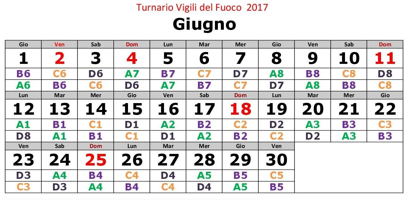 Turnario 2017 realizzato da Vigilfuoco.net