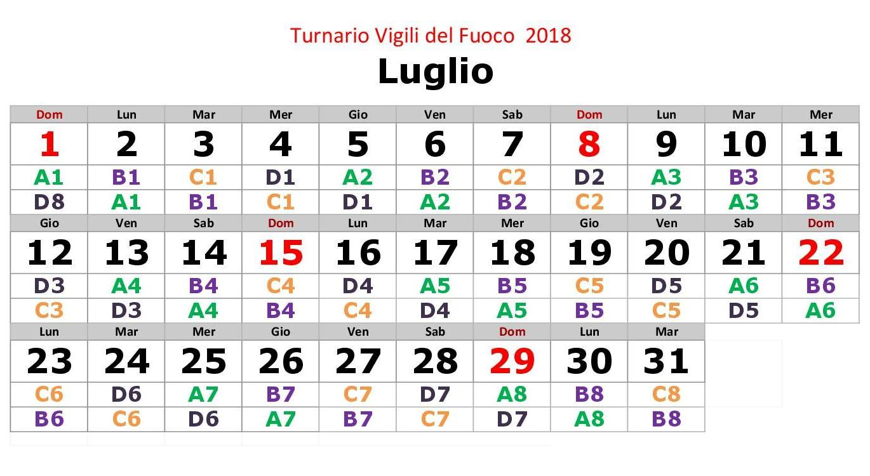 Turnario 2018 realizzato da Vigilfuoco.net